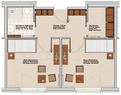 Auf Diesem Grundriss Sind Zwei Separate Schlafzimmer Vorgesehen Paare Knnen Die Pflegewohnung Auch In Ein Schlaf Und Wohnzimmer Unterteilen
